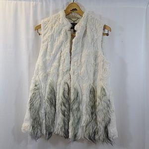 BCBG MAXAZRIA Cream Faux Fur Vest Size M Black